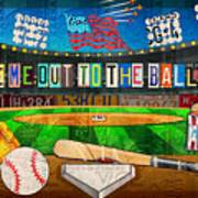 Take Me Out To The Ballgame Recycled Vintage License Plate Art Collage Art Print
