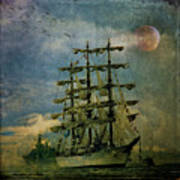 Tall Ship New York Harbor 1976 Art Print