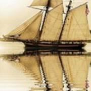 Tall Ship Sepia  Art Print
