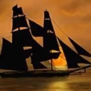 Tall Ship With A Harvest Moon Art Print