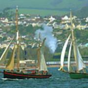 Tall Ships And Steam Trains Art Print