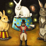 Taming Of The Giant Bunnies Art Print