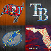Tampa Bay Sports Fan Recycled Vintage Florida License Plate Art Bucs Rays Lightning Plus State Map Art Print