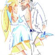 Tango Nuevo - Gancho Step - Dancing Illustration Art Print