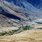 Tangsey Village Landscape Of Leh Ladakh Jammu And Kashmir India Art Print