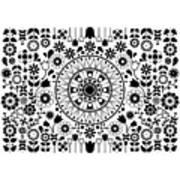 Tapiz Flores Black And White Art Print