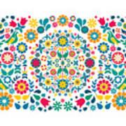 Flores Y Aves Art Print