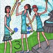 Tarot Of The Younger Self Three Of Cups Art Print