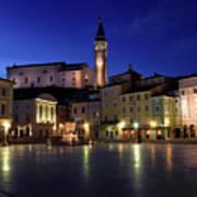 Tartini Square Plaza In Piran Slovenia With City Hall, Tartini S Art Print
