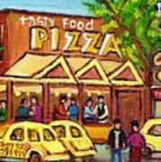 Tasty Food Pizza On Decarie Blvd Art Print