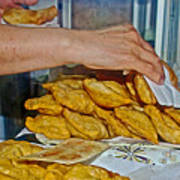 Tasty Hot Empanadas For Lunch In Angelmo Fish Market In Puerto Montt-chile Art Print