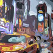 Taxi On Broadway Art Print