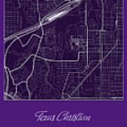 Tcu Street Map - Texas Christian University Fort Worth Map Art Print