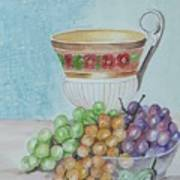 Tea Cup And Grapes Art Print by Janna Columbus