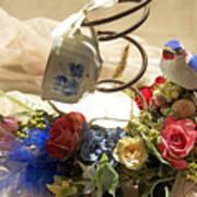Tea Cup Bed Coil Floral Art Print