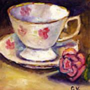 Tea Cup With Rose Still Life Grace Venditti Montreal Art Art Print