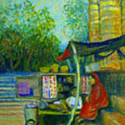 Tea Stall At Assi Ghat In Varanasi Art Print