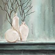 Teal Elegance - Teal And Gray Art Art Print