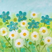 Teal Flowers And Daisies Art Print