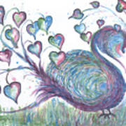 Teal Hearted Peacock Watercolor Art Print