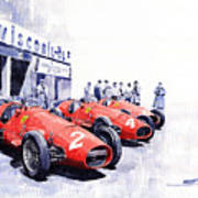 1953 Team Ferrari 500 F2 German Gp Art Print
