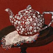 Teapot Calico Red Art Print