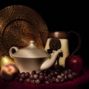 Teapot With Fruit Still Life Art Print by Tom Mc Nemar