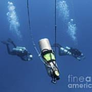 Technical Divers Ascend Near A Nitrox Art Print by Karen Doody