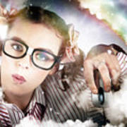 Technology Smart Woman Using Cloud Computing Art Print
