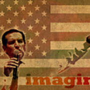 Ted Cruz For President Imagine Speech 2016 Usa Watercolor Portrait On Distressed American Flag Art Print