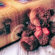 Teddy Bear And Suitcase Art Print