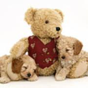 Teddy Bear With Puppies Art Print by Jane Burton