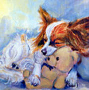 Teddy Hugs - Papillon Dog Art Print by Lyn Cook