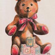 Teddy With Blocks Art Print