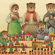 Teddybears And Bears Christmas Art Print by Kestutis Kasparavicius