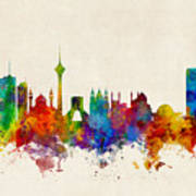 Tehran Iran Skyline Art Print