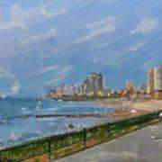 Tel Aviv Beachline Art Print