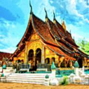Temple In Laos Art Print