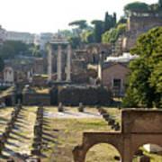 Temple Of Vesta. Arch Of Titus. Temple Of Castor And Pollux. Forum Romanum. Roman Forum. Rome Art Print by Bernard Jaubert