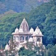 Temple In The Distance - Rishikesh India Art Print