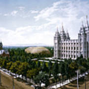 Art print POSTER Mormon Tabernacle and Temple on Temple Square