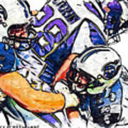 Tennessee Titans Karl Klug And Chris Hope And Minnesota Vikings Adrian Peterson Art Print by Jack K