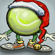 Tennis Christmas Art Print