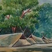 Tents Under Tree Art Print