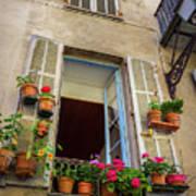 Terra Cotta Pots Outside Window In Old Town Nice, France Art Print
