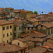 Terra-cotta Roofs Barga Vecchia Italy Art Print