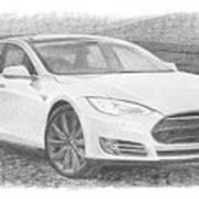 Tesla P58d Electric Car Pencil Drawing Art Print