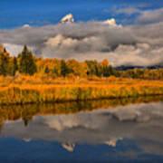Teton Fall Foliage And Fog Art Print