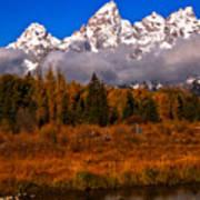 Teton Peaks Above Fall Foliage Art Print