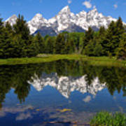Teton Reflection Art Print by Alan Lenk